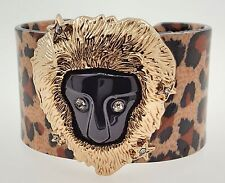 Lion Face Bracelet with Black and Brown Spots by Chuns, 5.75inches