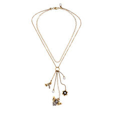 Modern Anthropologie Dragon Fly Beetle Flower Charm Double Chain Dangling Neckla
