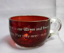 Antique Glass Ruby Flash Mug Cup w/ Gilt Rim Wives & Sweethearts Cheeky