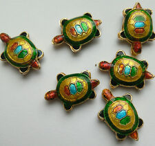 6 Tortoise Cloisonne Beads, Green/Multicolour 20 x 13mm. Jewellery Making/Crafts