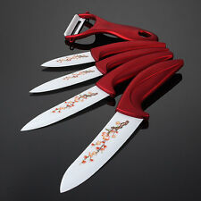 "White Blade Set Ceramic Chef Kitchen Knives 3"" 4"" 5"" 6""with plum blossom pattern"