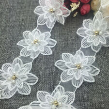New 1 Yards 2-layer 70mm Embroidered Flower Applique Pearl Core Lace Trim #ELH19