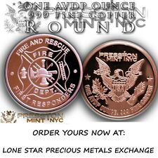 American Heroes Series Fire And Rescue 1 oz .999 Copper BU Round USA Made Coin