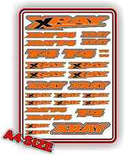XRAY T4 STICKER DECAL SHEET 1/10 RC ELECTRIC CAR A4 TOURING DRIFT ORANGE XRAY