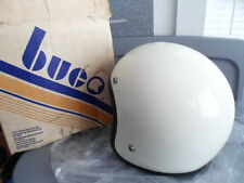 NOS Vintage Retro Buco Solid White Fiberglass Medium Motorcycle Helmet 1755-2