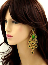 18K Gold Plated GP Green Crystal Rhinestone Chandelier Drop Dangle Earrings 6185