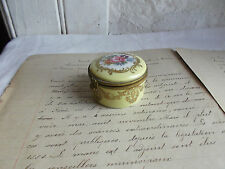 French antique porcelain ring box gorgeous hand painted gold gilt marked Paris