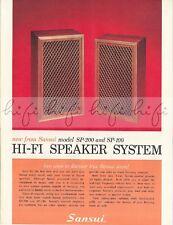 Sansui Model SP-200, SP-100 High Fidelity Speaker System Sales Brochure