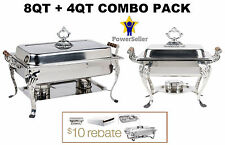 NEW 8QT + 4QT CLASSIC chafer dish sets chafing warmer CATERING RESTURAUNT DEAL
