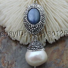 "H012409 24"" Pearl Agate Necklace Kyanite Pearl Pendant"