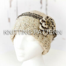 KNITTING PATTERN - Lakeland Flower Beanie Hat - Debbie Bliss Donegal Tweed Aran