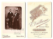 Pretty Couple in Formal Dress Holding Hands Antique French Cabinet Card Photo
