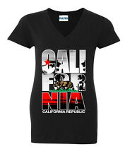 Cali For Nia Palm V-NECK WOMEN T-Shirt California Republic Bear Tee Ladies Shirt