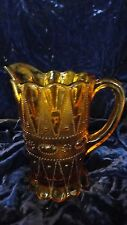 Vintage Amber Glass Beaded Panel 1qt Pitcher
