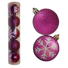 Christmas Decoration 5 Pack 60mm Snowflake & Glitter Baubles - Purple