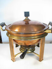 VINTAGE MANNING BOWMAN COPPER CHAFING DISH WITH BURNER --  SET IS COMPLETE