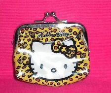 Hello Kitty Coin Purse With Animal Print & Silver Metal Trim.
