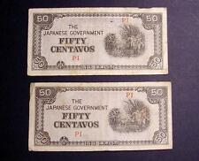 JAPANESE INVASION 2 BANK NOTES 1942 WWII PHILIPPINES MONEY FIFTY CENTAVOS LOT #5