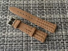 20mm brown perforated leather watch band stainless steel buckle 4 yr tag heuer