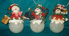 3 Light Up Christmas Tree Holiday Decor Snowman Ornaments ,Hockey Skates, Bird