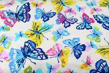 MULTI-COLOR WATERCOLOR BUTTERFLYS FLANNEL FABRIC 100% COTTON SEWING QUILTING BTY