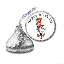 216 DR SEUSS CAT IN THE HAT HERSHEY'S KISS BIRTHDAY STICKER LABELS  Party Favors