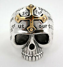 14K YELLOW GOLD CROSS SKULL 925 STERLING SILVER RING Sz 6.5 MENS NEW GOTHIC
