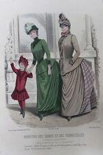 Vieux paris de la mode d'impression Designs Filles Outfit Hat robes C1884 antique Gravure