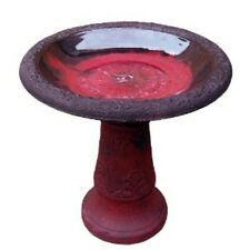 Scroll Vine Bird Bath w/Marbleized - dark red - three pieces screws together NEW