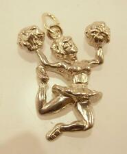 925 STERLING SILVER 3D CHEER LEADER CHEERLEADER PENDANT OR CHARM PT4