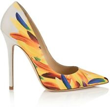 NIB Jimmy Choo Anouk 120 Feather Print Leather Pumps Heels 6 36  ($675)