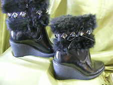 LADIES POSH WELLIES CATS EYE BLACK FUR TRIMMED BOOTS UK 6 EU 39 NEW £15