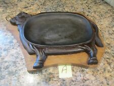 Vintage Cast Iron Steak Plate with Wooden Holder (#A)