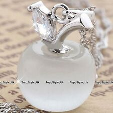 Apple Opal White Moonstone Silver Necklace Jewelry Xmas Gifts for Girlfriend O1