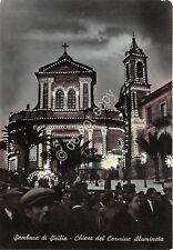 Cartolina - Postcard - Sambuca di Sicilia  Chiesa del Carmine illuminata by nigh