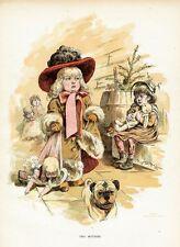 PUG DOG, JUVENILE, YOUNG GIRLS PLAYING DOLLS AND DRESS UP, COSTUMES, PUG DOG