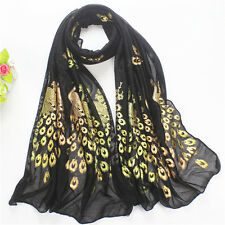Fashion Women Long Scarf Wrap Gold Peacock Flower Print Soft Shawl Scarves Stole
