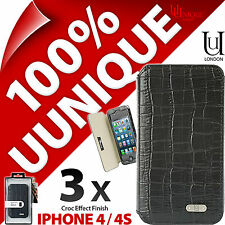 3 x Uunique Croc Folio Case Cover for iPhone 4 / 4S Hard Shell Protective Flip