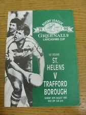 26/08/1990 Rugby League Programme: St Helens v Trafford Borough [Lancashire Cup]