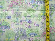 EASTER TOILE PRINT ON CREAM 100% COTTON FABRIC BY THE 1/2 YARD