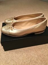 Gold Chanel Flats In Size 37