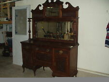 Solid Wood Sideboard About 1910 with Beveled Glass