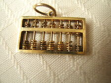 STERLING SILVER CHARM MOVEABLE ABACUS GOLD TONE