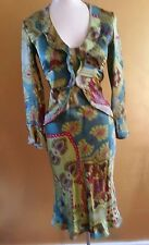 ETRO MILANO ITALY GREEN MULTI-COLOR SILK DRESS SIZE 40 XS S