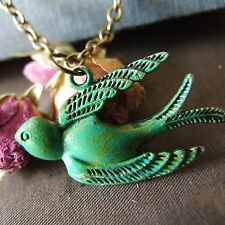 """FLY HOME"" Vintage Swallow Bird Necklace Verdigris Hand Applied Rockabilly Emo"