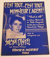 Partition vintage sheet music SACHA DISTEL : C'est Tout (That's All) * 50's