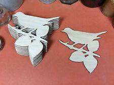 De Madera pájaro en una rama formas 10,5 cm (X10) Láser De Corte De Madera Artesanía En Blanco Forma