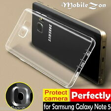 Samsung Galaxy NOTE 5 TPU 0.3mm Back Case Cover Camera Protection & Dust Plugs