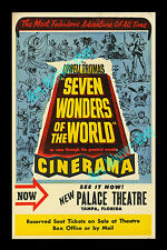 Lowell Thomas Seven Wonders of the World '56 RESERVE SEAT CINERAMA MOVIE POSTER!