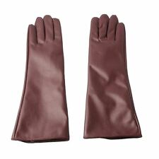 Ladies Elegant Mocha Faux Leather Long Gloves